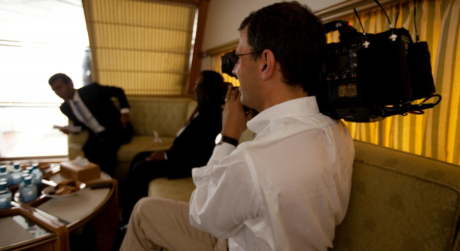 Director Jon Shenk on location with Mohamed Nasheed